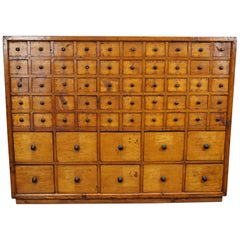 Dutch Pine Apothecary Cabinet or Bank of Drawers, 1940s