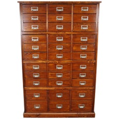 German Pine Apothecary Cabinet or Bank of Drawers, 1950s