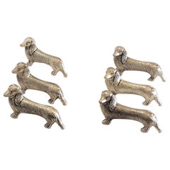 Set of Six French Art Deco Dog Daschund Knife Rests