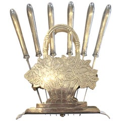 Art Deco German Silver Plate Fruit Knives in Stand Holder