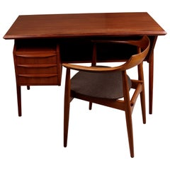 Midcentury Danish Teak Desk and Chair by Gunnar Nielsen Tibergaard