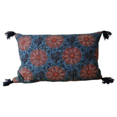 Bold Floral Blockprinted Cotton Pillow French, 19th Century