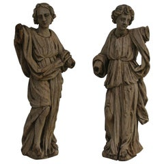 Pair of French 18th Century Weathered Oak Angel Figures