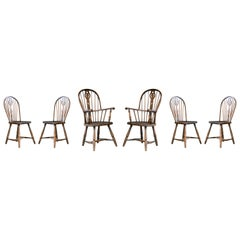 Set of Six Danish Windsor Style Dining Chairs, Early to Mid-1900s