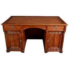 Victorian Gothic Revival Oak Desk in the Manner of Pugin
