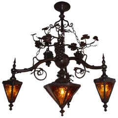 Arts and Crafts Wrought Iron & Stainleaded Glass Wine Theme Pendant Light Lamp