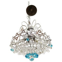 Italian Mid-Century Modern Chrome Chandelier with Clear & Turquoise Glass Balls