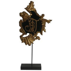 Italian 18th Century Baroque Gilded Coat of Arms with Lion