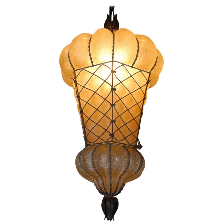 Large and Rare Venetian Mouth Blown Glass in Metal Frame Pendant Light
