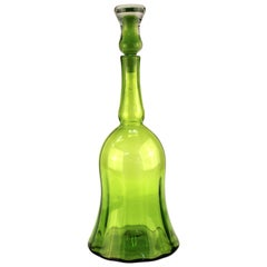 Wayne Husted for Blenko Mid-Century Modern Lime Green Glass Decanter