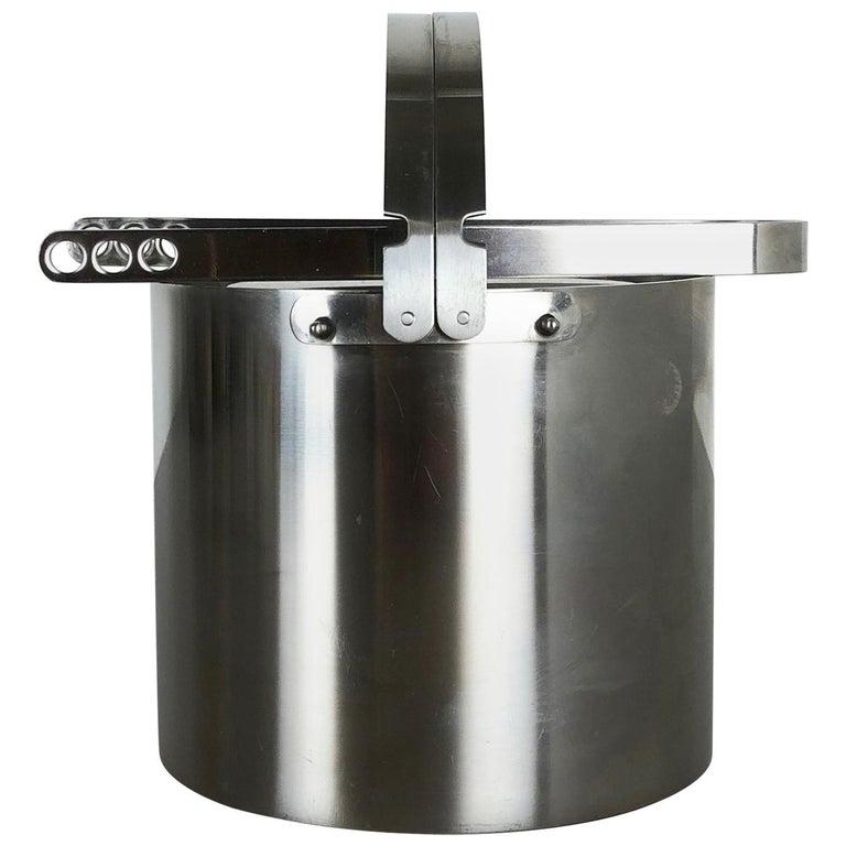 Original 1970s Cylinda Steel Ice Cube Bucket Element by Arne Jacobsen, Stelton