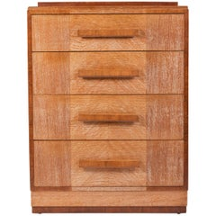 1940s English Limed Oak Chest of Drawers