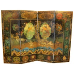Stuart Travis Art Deco Painted Asian Style Folding Screen with Bird Scenery