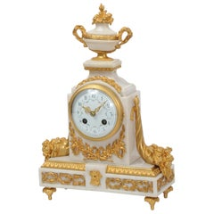 Antique French White Marble and Ormolu Boudoir Clock