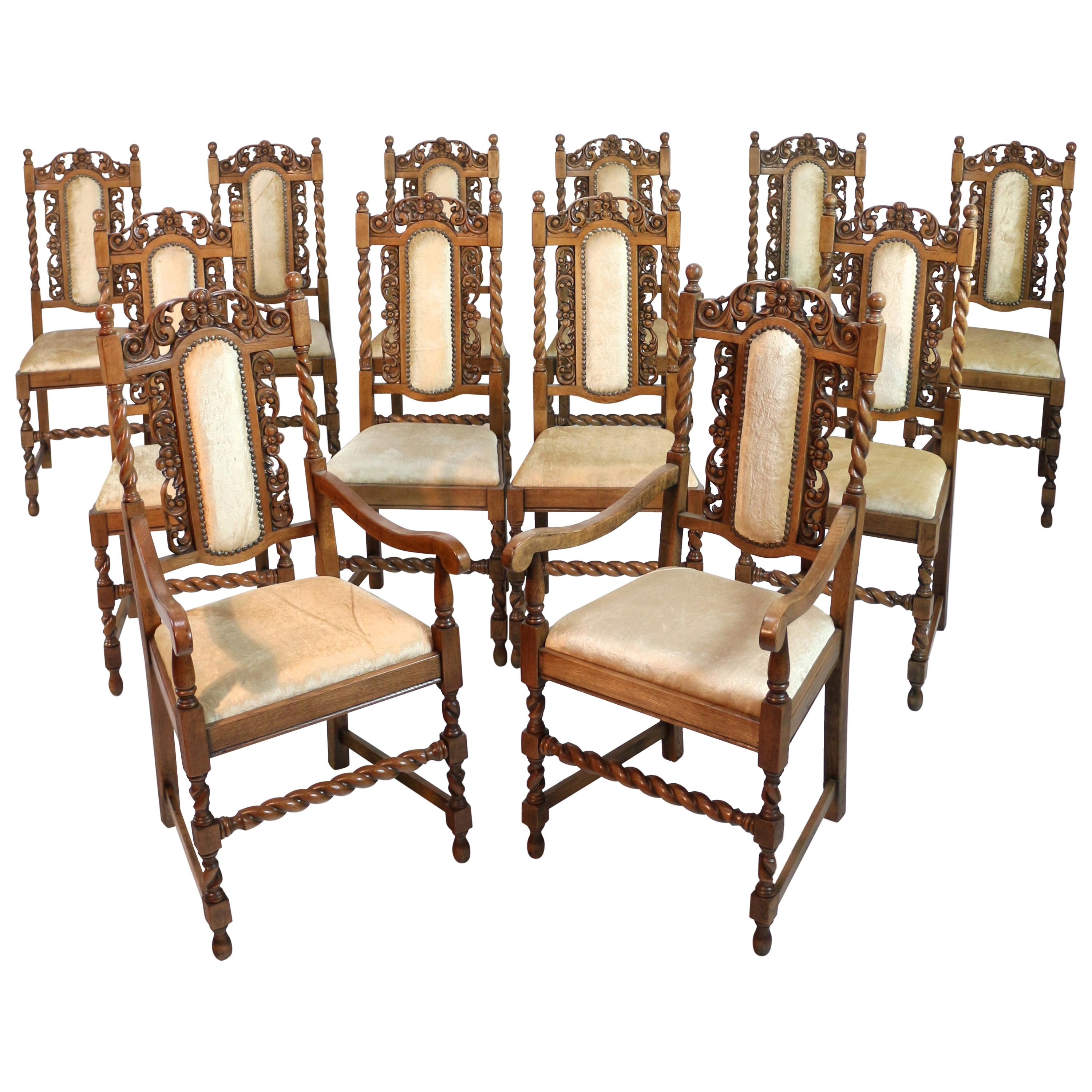 Set Of 12 Antique Jacobean Revival Carved Oak Barley Twist Dining Chairs