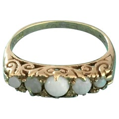 Asprey London 1889 5 Opal and 9 Carat Gold Ring Fully Hallmarked Stamped Signed