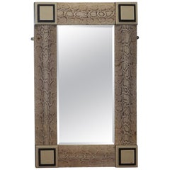 Rare Vintage Snakeskin Mirror Upholstered on Solid Wood Antique Timber Frame