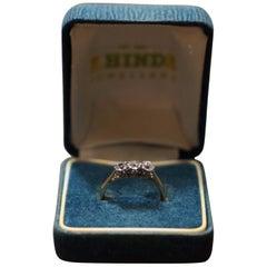 18-Carat Gold with Platinum Mounts 3 Stones Diamond Ring One Stone Swaped