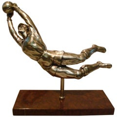 Silvered Figure of a Football, Soccer Goalkeeper, France, circa 1940