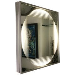 """Fontana Arte Sconces Ligh Panel """"Gianni Celada"""" Mirrored and Frosted Glass, 1970"""