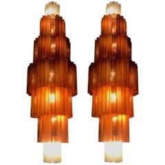 Pair of Monumental Venini Amber and Ice Matt Murano Glass Chandeliers, 1970