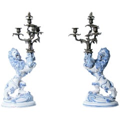 Pair of 19th Century Galle Faience Lion Candleholder with Silver Candelabra