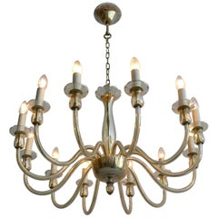 Classico Murano Deep Champagne Glass 12-Arms Chandelier