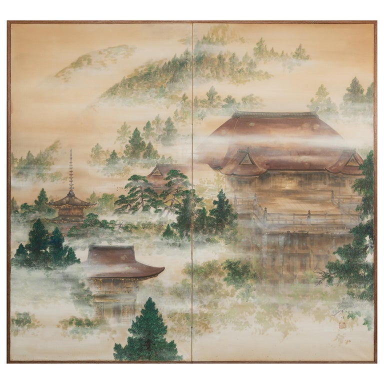 """Japanese Two-Panel Screen """"Spring Mist in Kyoto"""""""