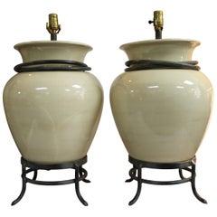 Pair of Ceramic Ivory Jar Lamps