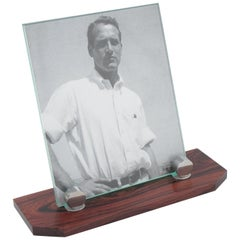 Art Deco Modernist Picture Photo Frame Macassar Wood and Chrome