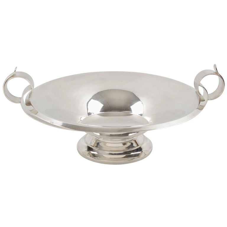 Art Deco 1930s French Silver Plate Large Serving Bowl Centrepiece