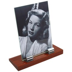 Modernist Art Deco Picture Photo Frame Rosewood and Chrome