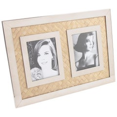 Italian Designer Signed Chrome and Straw Marquetry Picture Photo Frame