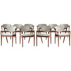 Set of Ten Kai Kristiansen Model 42 Teak Dining Chairs for Schou Andersen, 1960s