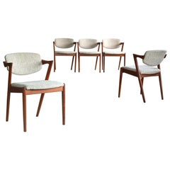 Set of Five Kai Kristiansen Model 42 Teak Dining Chairs for Schou Andersen