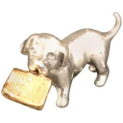 Miniature Silver Dog with Vermeil Newspaper by Sorini