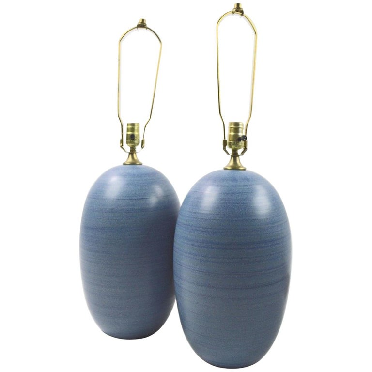 Pair of Midcentury Striped Blue Ceramic Table Lamps after Glidden