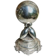 Figural Silver Plated 1918 Bowling Trophy