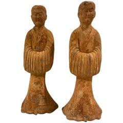 Pair of Tang Style Terracotta Tomb Attendants