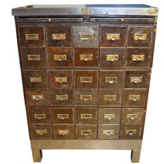 Industrial Storage Cabinet of Steel with 30 Steel File Drawers with Brass Pulls