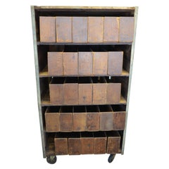 Storage Cabinet on Wheels Used for Cigar Display and Sale in 1900s General Store