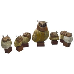 Seven-Piece Collection Brutalist Owls with Copper Heads and Feet with Stone Body