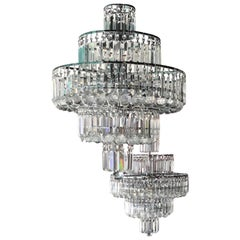Pair of Vintage Modern Hollywood Regency Style Chandeliers in Crystal and Chrome
