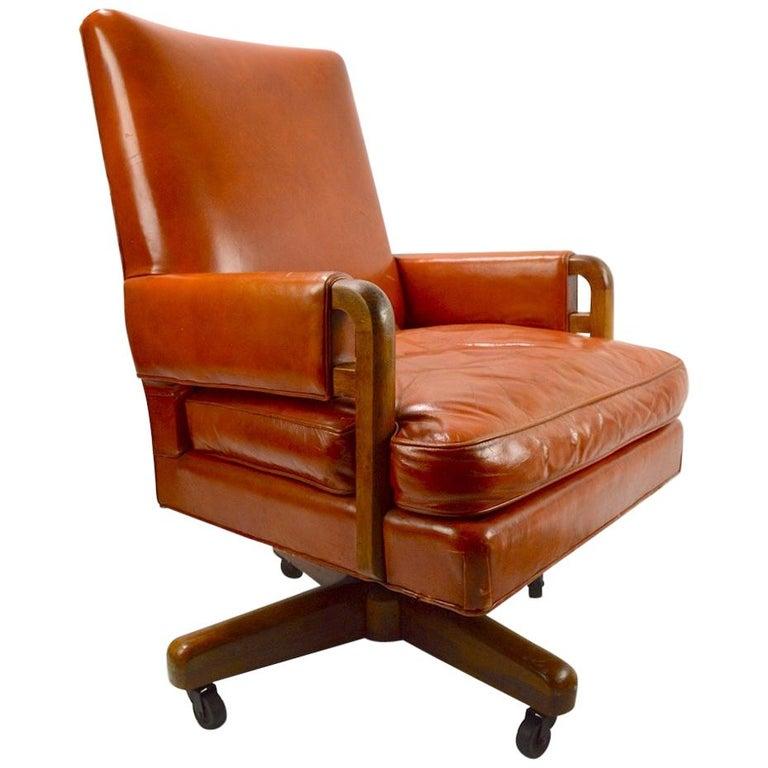 Stow Davis Swivel Tilt Leather Desk Chair