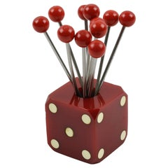 Art Deco 1930s Bakelite Barware Cocktail Picks Set Red Dice