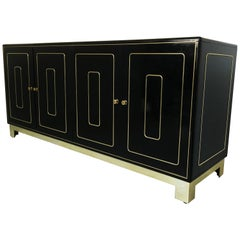 Four-Door Credenza in Black Lacquer by Romweber