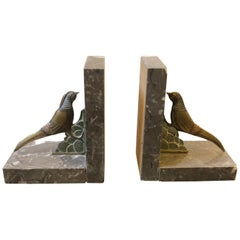 Art Deco British Marble and Metal Bookends, circa 1930