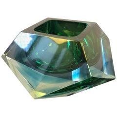 Seguso Italian Green Sommerso Murano Glass Ashtray, circa 1970