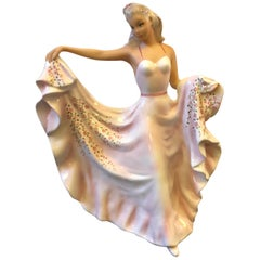 Giovanni Ronzan Italian Polychrome Ceramic Statue of a Young Lady, circa 1950