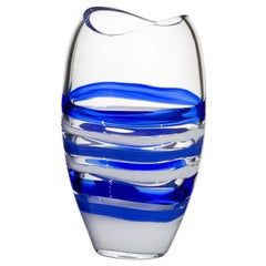 Small Ellisse Vase in Blue and White by Carlo Moretti